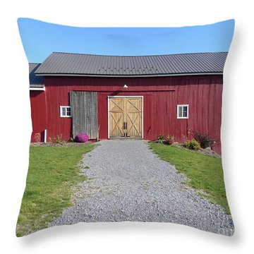 Throw Pillow featuring the photograph Red Barn by Rosanne Licciardi