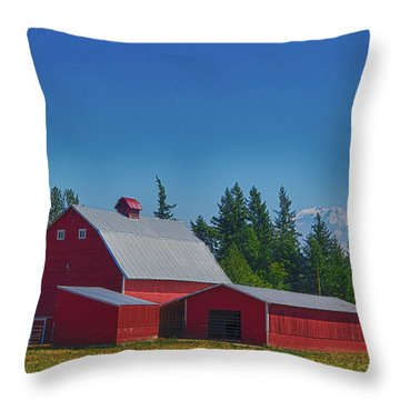 Red Barn With Mount Rainier Throw Pillow