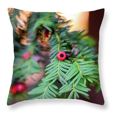 Throw Pillow featuring the photograph Red Berry On Green by Scott Lyons