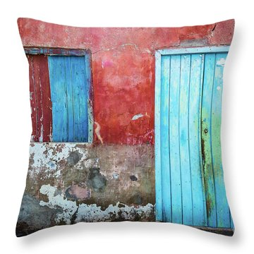 Red, Blue And Grey Wall, Door And Window Throw Pillow