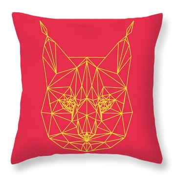 Red Bobcat Throw Pillow