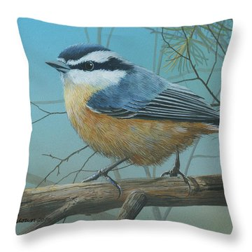 Red Brested Nuthatch Throw Pillow