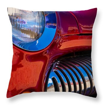 Red Car Chrome Grill Throw Pillow