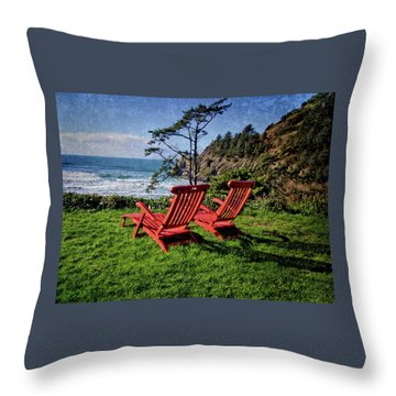 Red Chairs At Agate Beach Throw Pillow