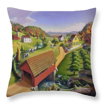 Red Covered Bridge Country Farm Landscape - Square Format Throw Pillow