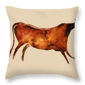 Red Cow In Beige Throw Pillow