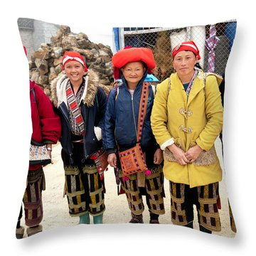 Red Dao Woman From Sa Pa, Vietnam Throw Pillow