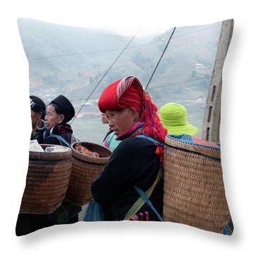 Red Dao Woman, Sapa, Vietnam Throw Pillow