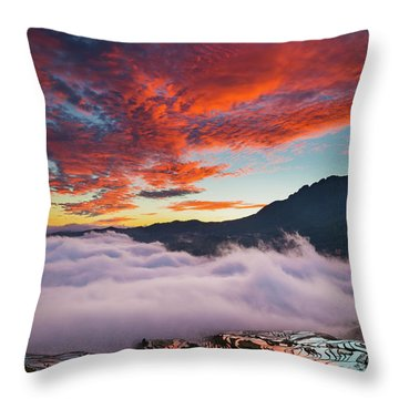 Red Dawn At Rice Terraces Throw Pillow