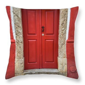Red Door Nine Of Obidos Throw Pillow
