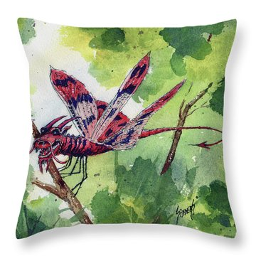 Throw Pillow featuring the painting Red Dragonfly by Sam Sidders