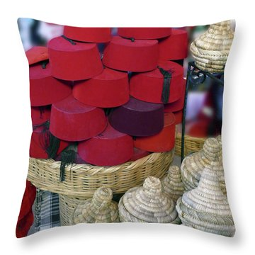 Red Fez Tarbouche And White Wicker Tagine Cookers Throw Pillow