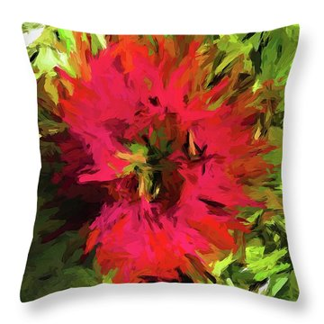 Red Flower Flames Throw Pillow