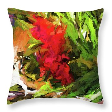 Red Flower On The Branch Throw Pillow