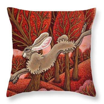 Red Forest Run Throw Pillow