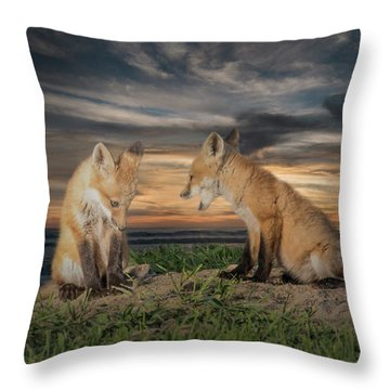 Throw Pillow featuring the photograph Red Fox Kits - Past Curfew by Patti Deters