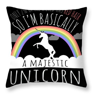 Red Hair Majestic Unicorn Funny Redhead Throw Pillow