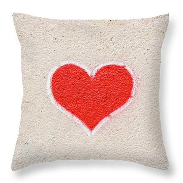 Red Heart Painted On A Wall, Message Of Love. Throw Pillow