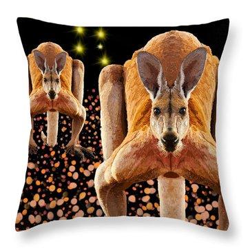 Red Kangaroos Throw Pillow