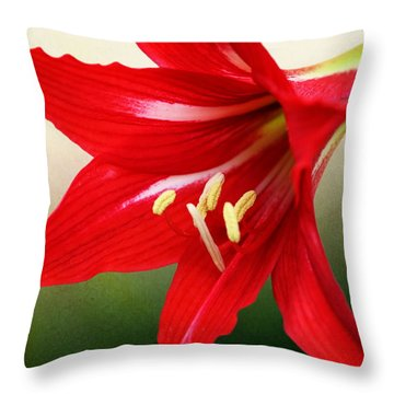 Red Lily Flower Throw Pillow