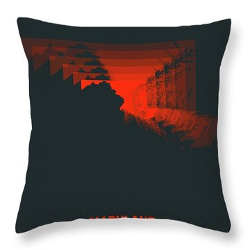 Red Map Of Maryland Throw Pillow