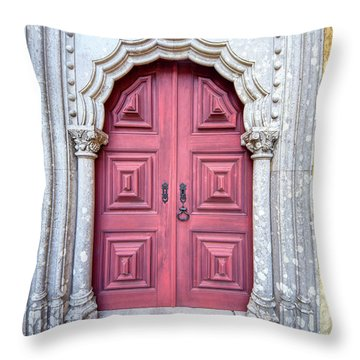 Red Medieval Door Throw Pillow