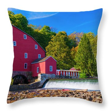 Throw Pillow featuring the photograph Red Mill Photograph by Louis Dallara