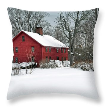 Red New England Colonial In Winter Throw Pillow