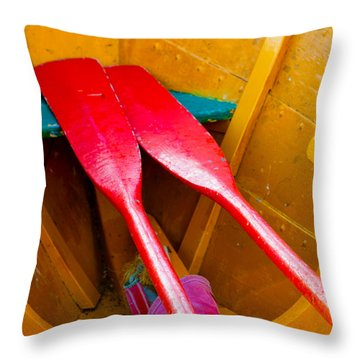 Red Oars Throw Pillow