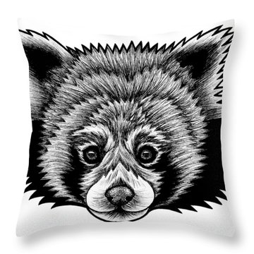 Red Panda - Ink Illustration Throw Pillow