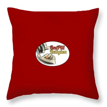 Red Pill Religion Logo On Red Throw Pillow