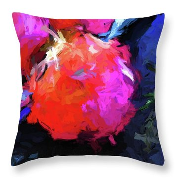 Red Pomegranate In The Blue Light Throw Pillow