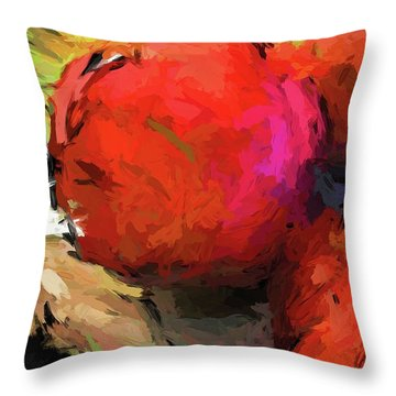 Red Pomegranate In The Yellow Light Throw Pillow