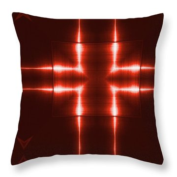 Red Reflecting Metallic Surface. Technological  Background.  Throw Pillow