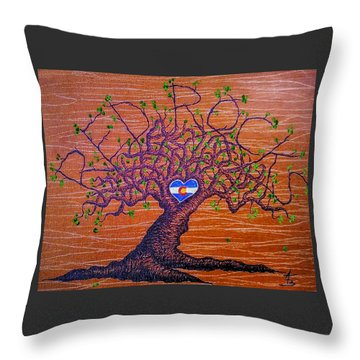 Throw Pillow featuring the drawing Red Rocks Lta W/ Foliage by Aaron Bombalicki