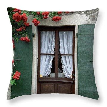 Red Rose Door Throw Pillow