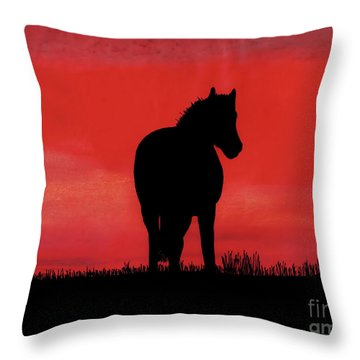 Red Sunset Horse Throw Pillow