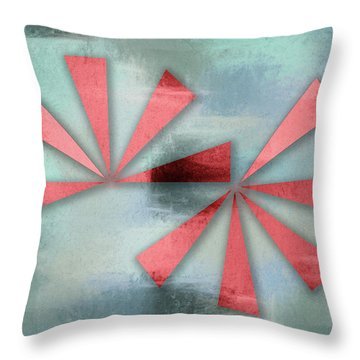 Red Triangles On Blue Grey Backdrop Throw Pillow