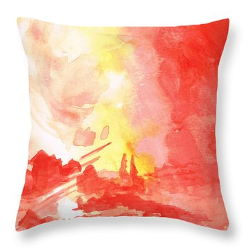 Red Village Abstract 1 Throw Pillow