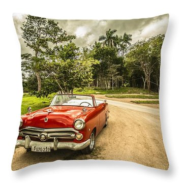 Red Vintage Car Throw Pillow