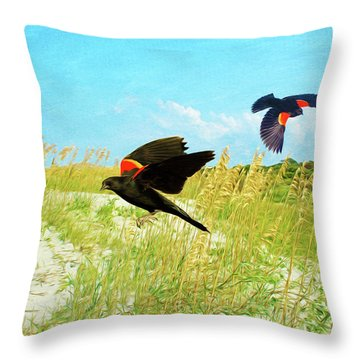 Red-winged Blackbird Throw Pillows