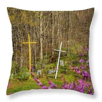 Redbud And Crosses  Throw Pillow