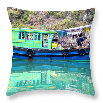 Reflections In Halong Bay, Vietnam Throw Pillow