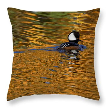 Reflecting With Hooded Merganser Throw Pillow