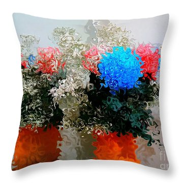 Reflection Of Flowers In The Mirror In Van Gogh Style Throw Pillow