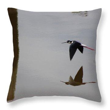 Reflection Of The Salton Sea Black Neck Stilt Flying Throw Pillow