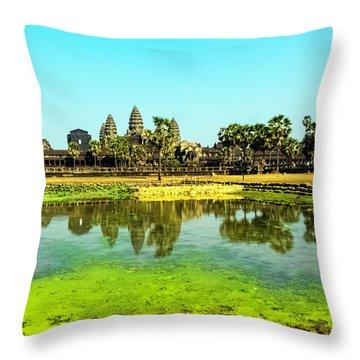 Reflections At Angkor Wat, Cambodia Throw Pillow