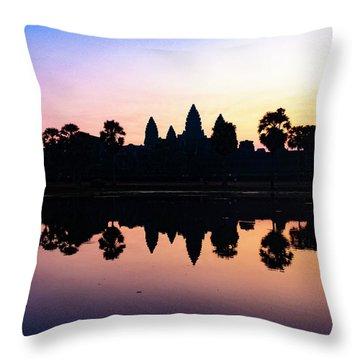 Reflections Of Angkor Wat - Siem Reap, Cambodia Throw Pillow