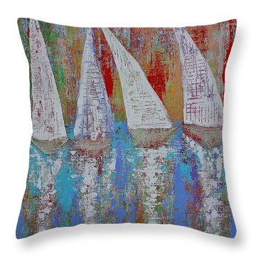 Regatta Original Painting Throw Pillow