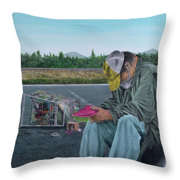 Throw Pillow featuring the painting Regret by Kevin Daly